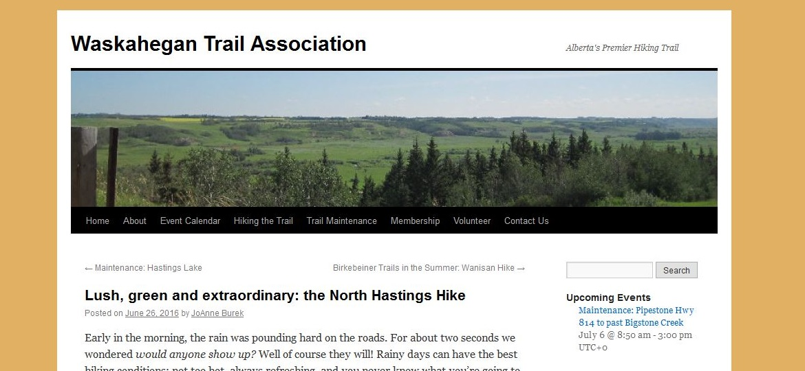 Waskahegan Trail Association website