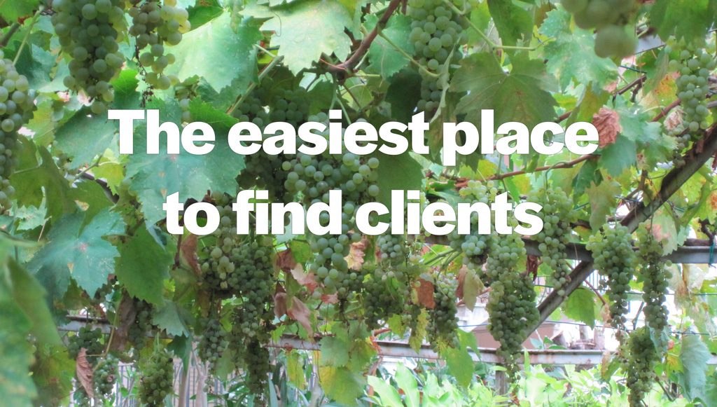 Grape arbor illustrates the easiest place to find clients (low hanging fruit)